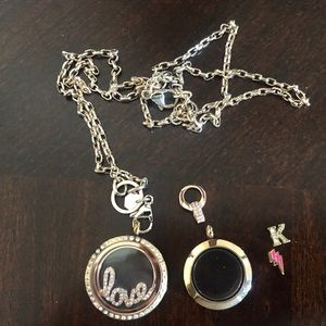 Origami owl necklace and pendants